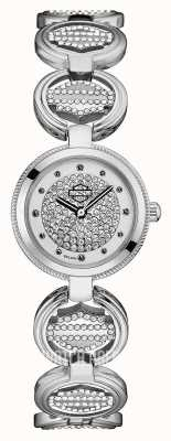 Harley Davidson Conjunto de cristal feminino pulseira de ligação de moeda | mostrador de cristal 76L179