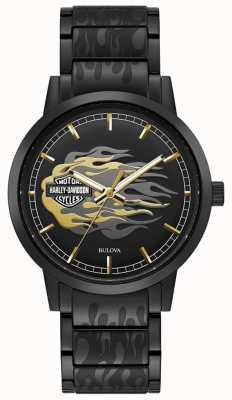 Harley Davidson Chamas masculinas | pulseira de aço preto | mostrador preto 78A121