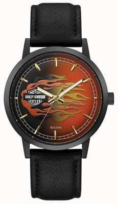 Harley Davidson Chamas metálicas dos homens | pulseira de couro preta | mostrador de chamas 78A123