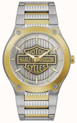 Harley Davidson Pulseira masculina de aço em dois tons | mostrador prateado 78A125