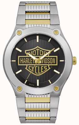 Harley Davidson Pulseira masculina de aço em dois tons | mostrador preto 78A126
