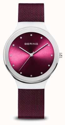 Bering Classic   mulheres   prata polida   malha roxa 12934-909