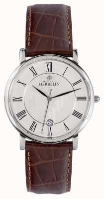 Michel Herbelin Sonates | 38mm | mostrador branco | pulseira de couro marrom 12248/08MA