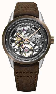 Raymond Weil Freelancer | bronze | automático | pulseira de couro marrom 2785-SBC-60000