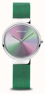 Bering Aniversário   mulheres   prata polida   pulseira de malha verde 10X31-ANNIVERSARY1