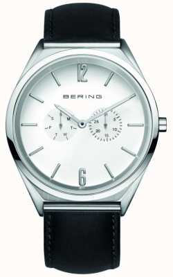 Bering Classic   unissex   pulseira de couro preta   mostrador branco 17140-404