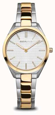 Bering Ultra slim | mulheres | prata polida / escovada / ouro | mostrador branco 17231-704