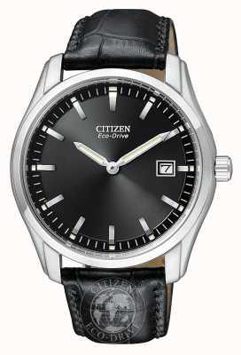 Citizen Mostrador preto eco-drive para homem com pulseira de couro genuíno AU1040-08E