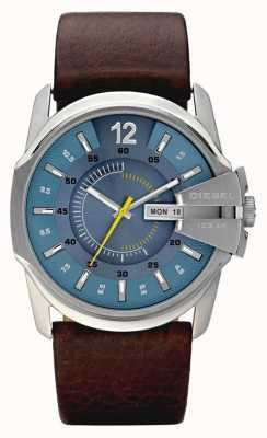 Diesel Mens blue dial couro marrom pulseira relógio DZ1399